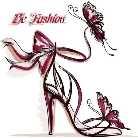 Fashion illustration with elegant  female shoe with bow and butterflies sit on it Vectores
