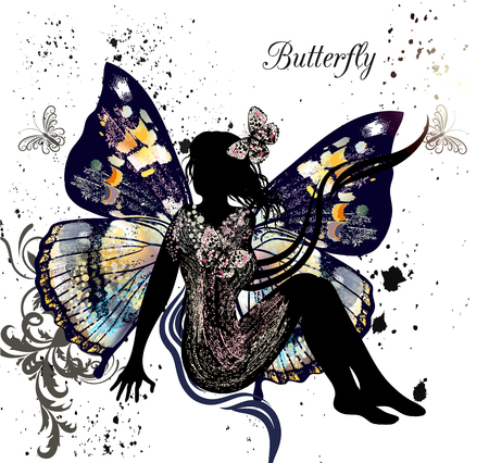 imagine: Beautiful illustration with girl  butterfly sitting and imagine something and butterflies fly  around her