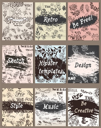 sketched: Set of vintage creative cards with hand sketched hipster textures from doodles made with ink for design Illustration