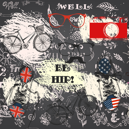 Creative hipster seamless wallpaper pattern with hand sketched doodles, sport boots, camera, bike and other hipster things