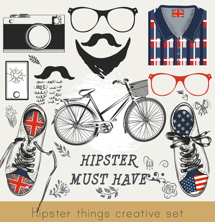 have: Creative vector set of hipster must have glasses, kedas, t-shirt, bicycle, camera and mustache Illustration