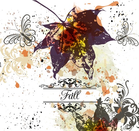 watercolor texture: Grunge vector autumn background with maple leafs