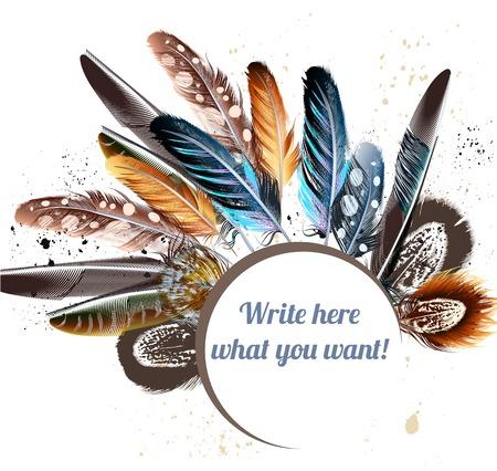 美しいベクトル カラフルな羽と本文のバナー。あなたの設計のための現実的な羽