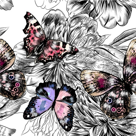butterfly flower: Floral seamless background with colorful butterflies and engraved peony flowers Illustration