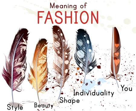 individuality: Fashion conceptual background with colorful feathers. What mean fashion. Style, individuality, shape, beauty