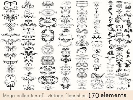 elementos: Una colección de estilo vintage florece 170 elementos de diseño. conjunto de vectores Mega
