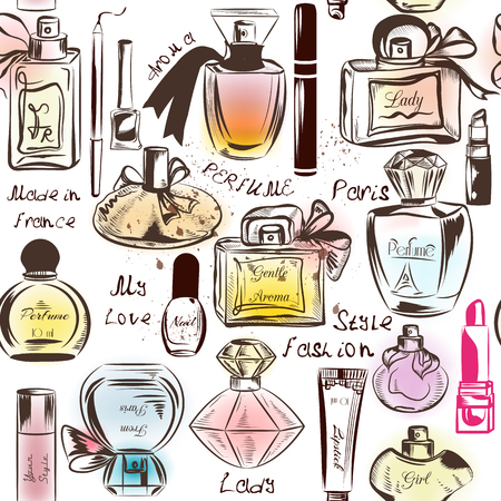 merchandise: Fashion seamless wallpaper pattern with of different perfumes