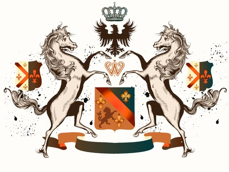 heraldic design: Heraldic design with coat of arms horses and crowns in antique style Illustration