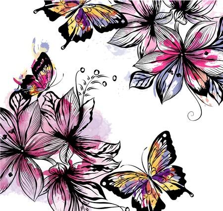 mariposa: Ilustración floral con flores y mariposas vector de manchas de colores de acuarela. Pinturas de estilo de la acuarela Vectores