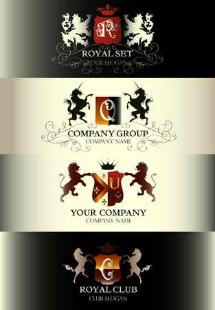 vintage border: Collection of luxury vintage templates logotype set business sign identity for restaurant royalty boutique menu and labels
