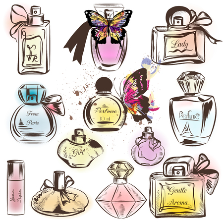 Collection of different perfumes. Elegant vector illustration
