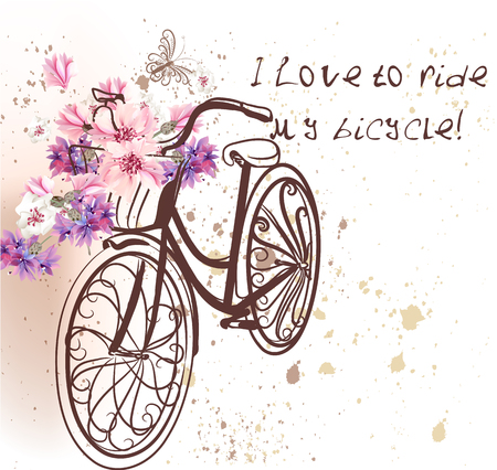 Cute bicycle with corn flowers. Vector  background I love to ride my bicycle