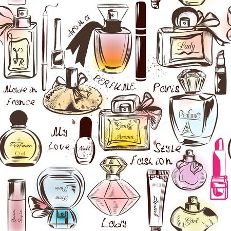 productos de belleza: Moda patrón de papel tapiz sin fisuras con diferentes perfumes