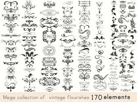 A collection of vintage style flourishes 170 elements for design. Mega vector set