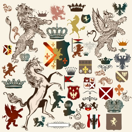 armor: Collection of high detailed heraldic elements. Hand drawn lion, griffin, horse, shields, crowns, shapes and other elements Illustration