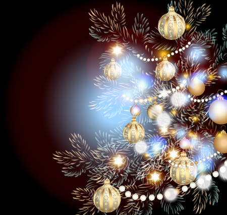 glimmered: Christmas illustration with Christmas tree in lights, baubles and different decorations