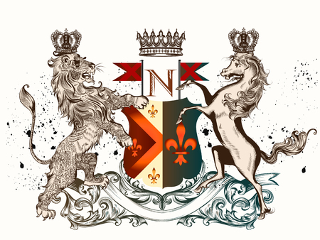 Heraldic design with coat of arms horse, lion and crowns in antique style