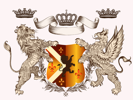Heraldic design with coat of arms griffin, lion and crowns in antique style