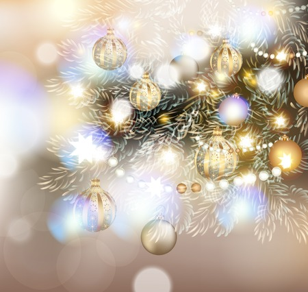 glimmered: Christmas illustration with Christmas tree in lights, golden and silver  baubles and different decorations