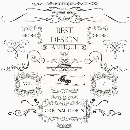 évjárat: Állítsa be a szüreti dekoráció elemek sallangot kalligrafikus dísz határok és keretek retro