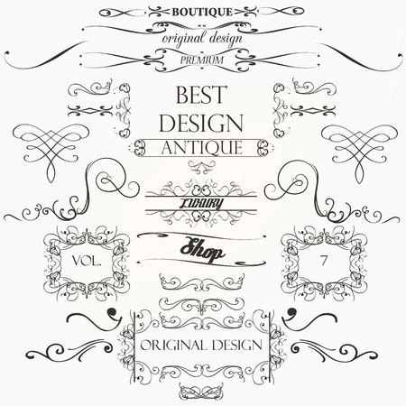 elemento: Set di decorazioni elementi d'epoca fiorisce ornamenti calligrafici bordi e cornici retrò Vettoriali