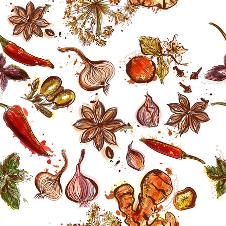 �pices: Herbes et �pices fond sans soudure avec le th�me de cuisson diff�rentes �pices et d'herbes Illustration