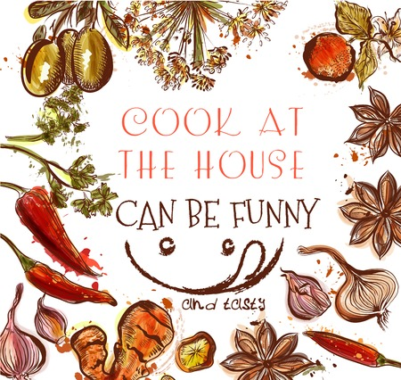 coo: Cooking background or poster with different spices and herbs cook at the house can be funny and tasty