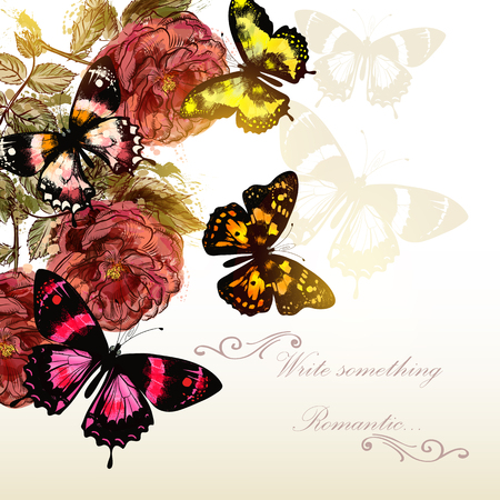 butterfly flower: Beautiful vector background with roses and butterflies for romantic events design Illustration