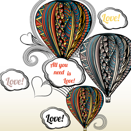 first love: All you need is love. Air balloon with hippie style ornament in  ethnic colors .Valentine�s day or hippie illustration