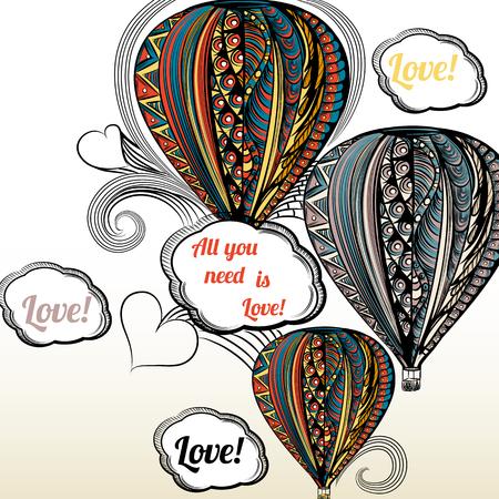 love card: Todo lo que necesitas es amor. Bal�n de aire con adornos de estilo hippie en colores �tnicos d�a o hippie ilustraci�n de .Valentine Vectores