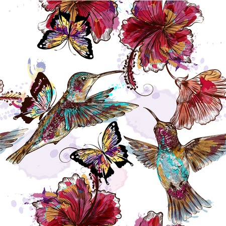 Floral seamless wallpaper pattern with hummingbirds, butterflies and engraved flowers in ink or watercolor  spots