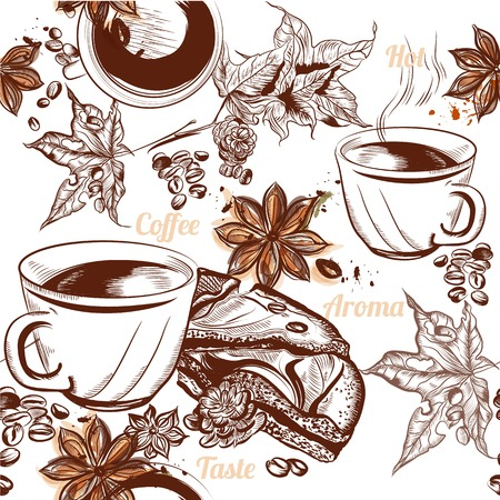 espresso: Coffee vector seamless background with engraved coffee cups, grains, maple and star anise