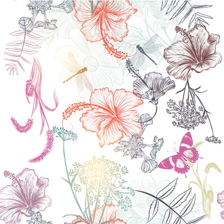 dragonfly: Floral seamless vector background with engraved flowers hibiscus, dragonfly. Nature illustration Illustration