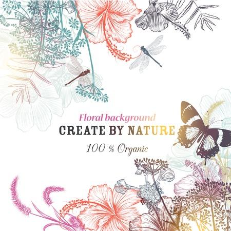 花のベクトルの背景に刻まれた花ハイビスカス、トンボ。自然有機図