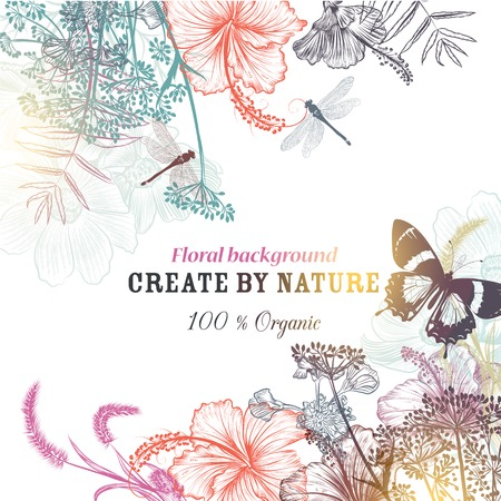 Floral vector background with engraved flowers hibiscus, dragonfly. Nature organic illustration