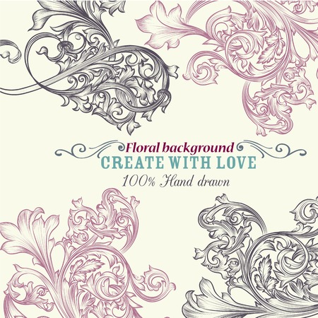 ornaments floral: Floral vector background with engraved ornaments ideal for  brochures or wedding invitations