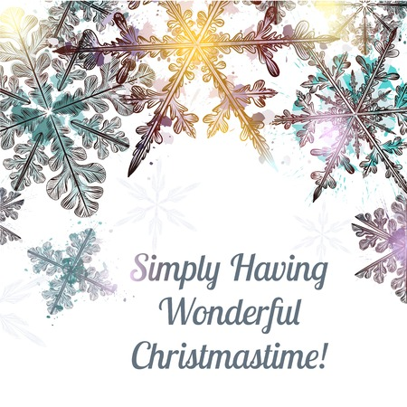 christmastime: Christmas clear background with hand drawn snowflakes and light Simply having wonderful Christmastime Illustration