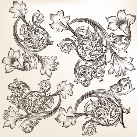 scroll: Engraved set of vector swirls in vintage style  for design Very high quality of drawing Illustration