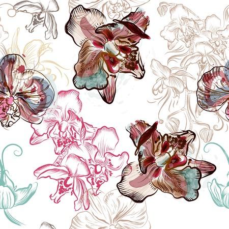 スポットで水彩風に描かれた蘭の花と花のシームレス パターン  イラスト・ベクター素材
