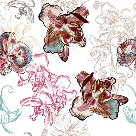 orchid: Floral seamless pattern with orchid flowers painted in watercolor style by spots