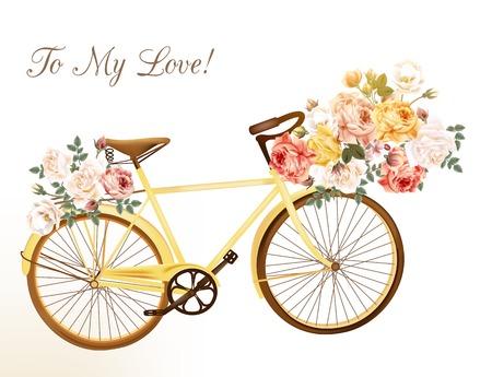 完全にバラの花のバスケットを持つ黄色の自転車