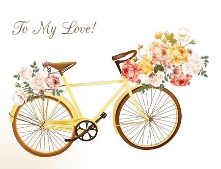 Bicycle in a yellow color with basket fully of rose flowers Vectores