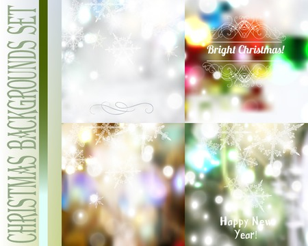 christmas backgrounds: Set of vector Christmas blurred backgrounds with lights and  snowflakes Illustration