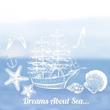 tripping: Blue summer vector  blurred background with ocean and ship dreams about sea