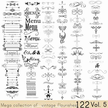 bordes decorativos: Colección de elementos caligráficos del vector y decoraciones de página