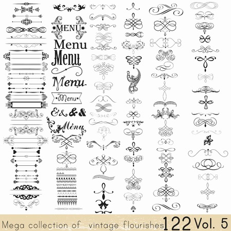 types: Collection of vector calligraphic elements and page decorations Illustration