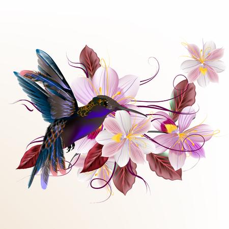 hummingbird: Beautiful vector illustration with hummingbird hyacinth flowers