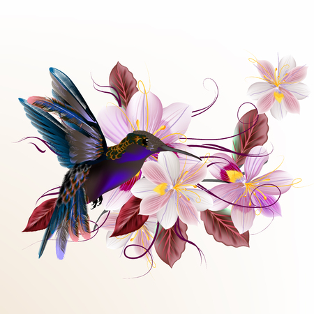 Beautiful vector illustration with hummingbird hyacinth flowers