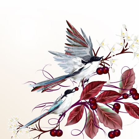 leafs: Beautiful vector illustration with birds sitting on a blooming tree and eat berries
