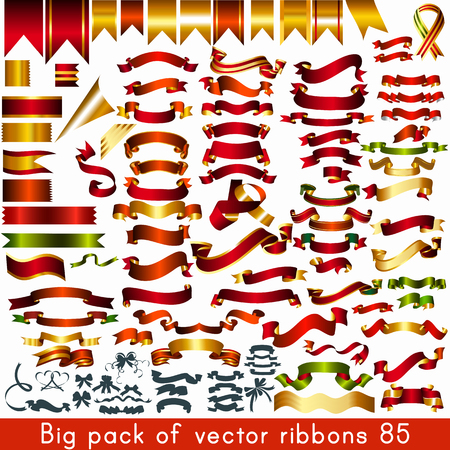 Big pack or collection of vector ribbons and banners for any holiday or event design Ilustração